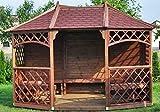 Stan-Wood GARTENLAUBE Holz PAVILLON MIT SCHINDELN !!! HOLZDACH ! 3,5mx2,6m (Außen 3,95x3m) BILLIG