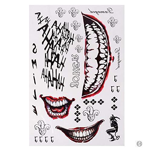 lijinjin Halloween Cosplay Die Joker Tattoo-Aufkleber Body Art Tattoos Für Gesicht Arm 20X29,6 cm