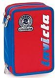 Astuccio 3 Zip Invicta Kupang, Rosso, Con materiale scolastico: 18 pennarelli Giotto Turbo Color, 18 matite Giotto Laccato...