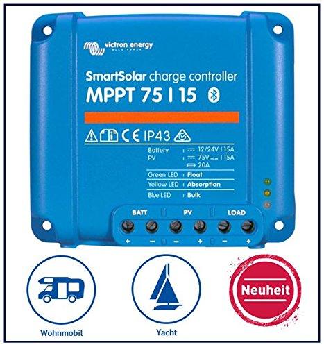 Premium Set Victron SmartSolar MPPT 75/15 Laderegler für Wohnmobile und Yacht, inkl. Bluetooth (Wohnmobil 15)
