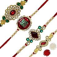 Preyans from Jaipur Mart Strand Bracelet Rakhi with Roli Chawal for Men(4 Piece Combo)(RKH153CMB)