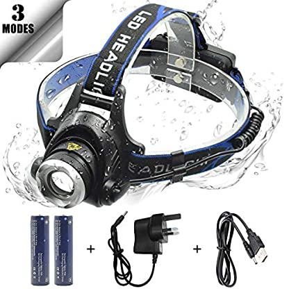 WASAGA Head Torch, 2000 Lumen 5000 Lumen Zoomable Rechargeable LED Headlamp Headlight Flashlight, Waterproof Adjustable LED Headlamp, Perfect for Running, Walking the dog, Camping, Reading 1