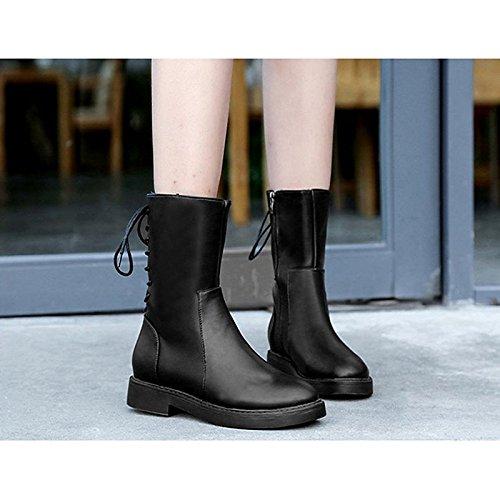 Scarpe donna pu inverno Comfort moda Stivali Stivali punta tonda Babbucce/stivaletti di abbigliamento casual nero,Black,US8 / EU39 / UK6 / CN39 Black
