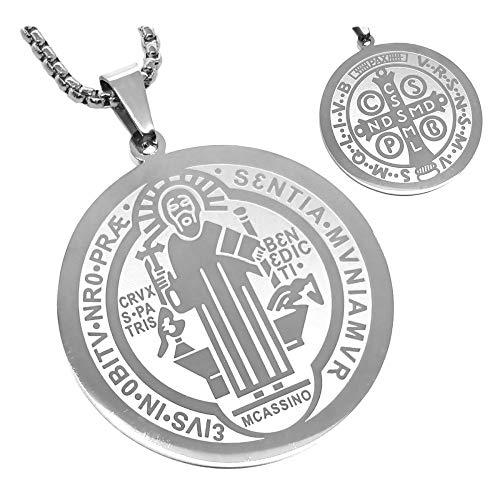 BOBIJOO Jewelry - Anhänger Medaille Runder Kragen Heiligen Benedikt Schutz, Stahl Silber + Kette - Versilbert 40mm