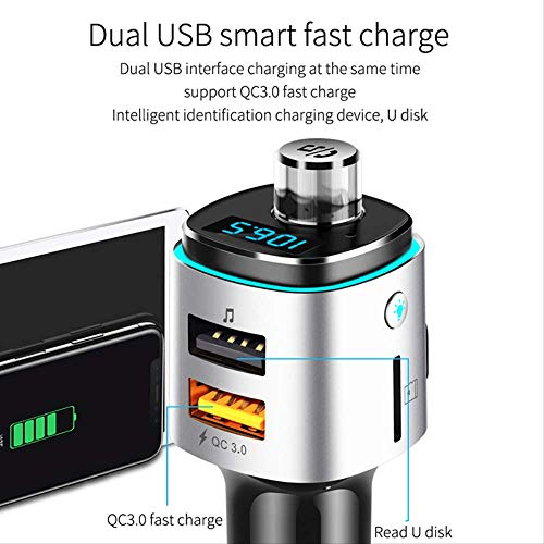 jklv Trasmettitore FM Bluetooth per caricabatteria per Auto Dual QC3.0 USB Ricarica Bluetooth Aux TF Card U Disco 7 Colori Vivavoce Kit per Auto