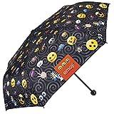 Regenschirm im Emoji Design mit den Offiziellen Emoticons von Whatsapp - Schirm schwarz, klein und leicht für die Tasche oder den Rucksack - Perletti Taschenschirm - manuelle Öffnung
