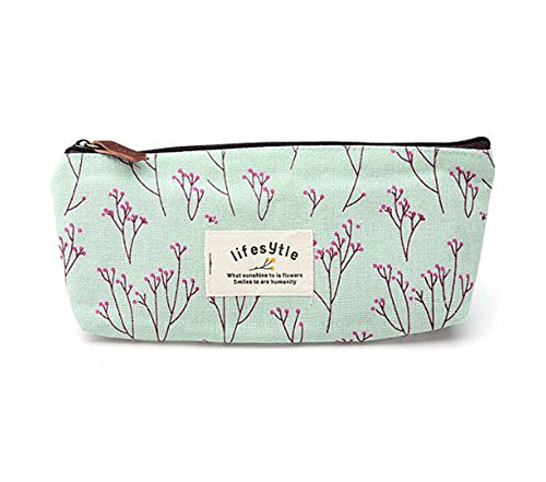 Sanwood Elegant Canvas Pastorable Floral Pen Pencil Pouch with Zipper Closure,Light Blue and Pink
