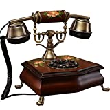 Power uk Teléfono de madera maciza Teléfono antiguo europeo Código retro Hogar fijo de la vendimia Hogar pintado a mano de la moda Jardín creativo (Color : Marrón)