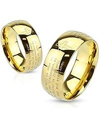 Paula & Fritz® Anillo de acero inoxidable acero quirúrgico 316L Oro 6o 8mm de ancho Grabado Padre Nuestro disponibles Ring tamaños 47(15)–69(22) R de m2766