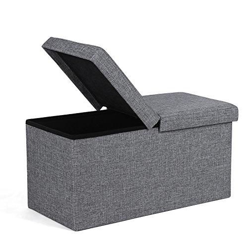 SONGMICS Sitzbank 80 L Sitzhocker mit Stauraum Halbdeckel seitlich klappbar 76 x 38 x 38 cm grau LSF41G (Sitzbank Mit Gepolsterte Stauraum)