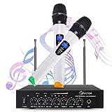 Microphone Sans Fil, EIVOTOR Micro Professionnel Portable 2 Micro Sans Fil à Main + 1 Récepteur...