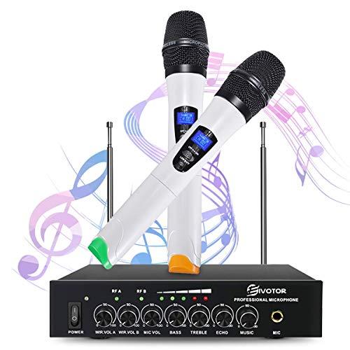 Equipo de Karaoke, EIVOTOR 2 Micrófonos Inalámbricos (dual canal, banda UHF) para Bares, Karaoke, Fiestas, Hogar, Reunión, Espectáculos Musicales (Blanco)