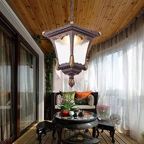 (Größe: 35cm hoch) schwarz 1-Licht Outdoor-Anhänger Sicherheitsleuchten Vintage Industrial Rust Farbe wasserdicht hängende Decke Kronleuchter Garten Balkon Terrasse Pendelleuchte E27 Hängende Beleucht -