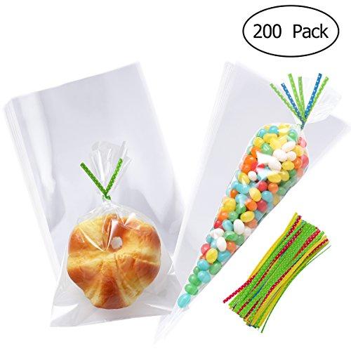 TOYMYTOY 200 Stück Transparente Zellophan klare Kunststoff Cellophan behandeln Taschen und Bänder für Cookie, Bäckerei, Candy, Party Favors (Behandeln Halloween-cello Taschen)