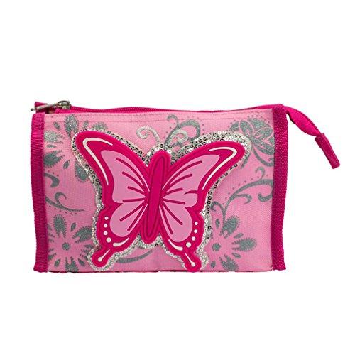 STEFANO Kinder Reisegepäck Schmetterling pink rosa (Waschtasche)