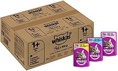 Whiskas Katzenfutter Nassfutter Adult 1+ Fisch und Geflügelauswahl in Gelee, 84 Portionsbeutel (84 x 100 g)