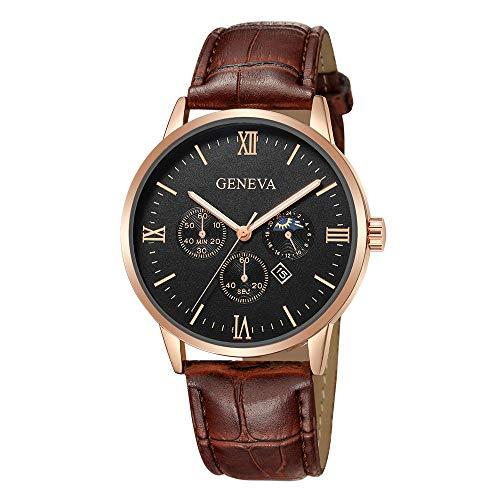 Neuer Trend Armbanduhr Herren Quarzuhr Analog Männer Mode Klassisch Uhr Lederarmband Wrist Watch ultradünn Zifferblatt Uhr LEEDY