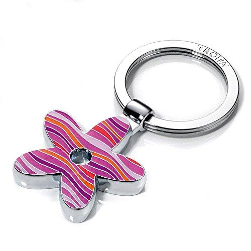 llavero-flor-metal-fundido-esmalte-cromado-brillante-estampado-a-rayas-rosa