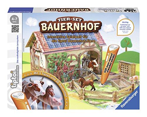 Ravensburger-tiptoi-Tier-Set-Bauernhof-00564-Erkunde-spielerisch-den-Bauernhof-und-kmmere-dich-eigenstndig-um-die-Tiere Ravensburger tiptoi Tier-Set Bauernhof Spiel, ab 4 Jahren, Interaktives Tier-Set Bauernhof mit drei Ravensburger tiptoi Spielfiguren -