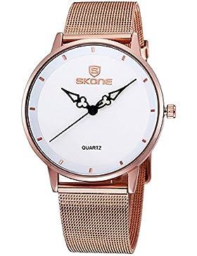 XLORDX Classic Quarz Armbanduhr Elegant Quarzuhr Uhr modisch Zeitloses Design klassisch Rosegold Metall