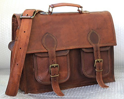 Handmadecraft Leather Unisex 100% Genuine Real Leather Messenger Bag for Laptop Briefcase Satchel