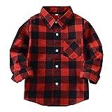 HAOKTY Jungen Mädchen Langarm Hemden Plaid Kariert Freizeithemd Tops Baumwolle Sweat Shirt (Color 1, 150)