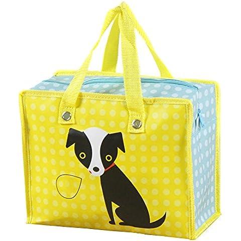 2pcs reutilizable Cartoon plegable portátil medio ambiente ahorro de espacio bolsas con impermeable y reforzada parte inferior cartón cremallera para viajes y compras