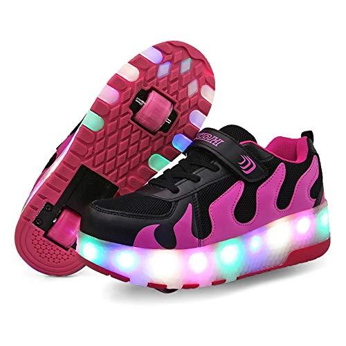 Homesave Mädchen Junge Mode LED Rollenschuhe mit Automatisch Verstellbares Räder Skateboardschuhe Outdoor-Sportarten Gymnastik Blinken Turnschuhe,Purple,39EU (Violett 091)