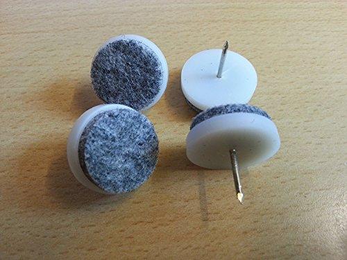 8 Stück Filz-Möbelgleiter mit Nagel - Ø 24 mm - aus Kunststoff / Filzgleiter / Möbelgleiter