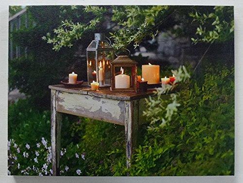 Leuchtbild LED Bild beleuchtet Kerze Laterne Wandbild Kerzen Leinwand 40 x 30 cm -