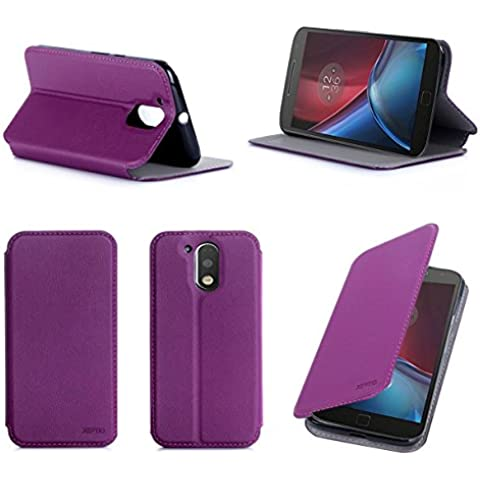 Púrpura Cuero Funda Folio Carcasa para Lenovo Motorola Moto G 4 Generación 2016 / G4 PLUS Dual Sim Piel Case Cover con Soporte - Flip cover caso para Moto G4/G4+ (PU Cuero - Accesorios XEPTIO case