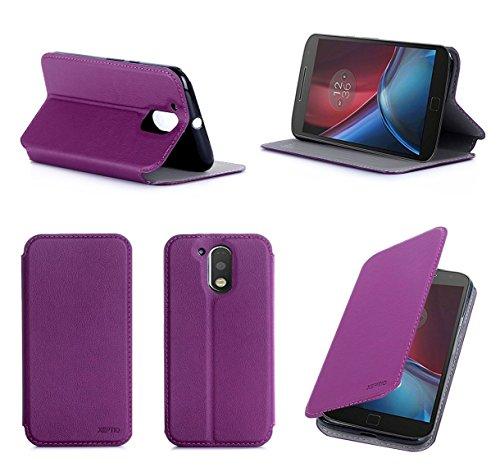 Lenovo Motorola Moto G4 PLUS 2016 5.5 zol 4G/LTE Dual Sim l Tasche Leder Hülle Lila violett Cover mit Stand - Zubehör Etui shell smartphone Lenovo Moto G 4 PLUS (4 generation) Shell Flip Case Schutzhülle (PU Leder, Handytasche Purple) - XEPTIO accessories