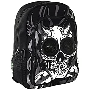 Jawbreaker Skull Devil Speaker Backpack (Black/White) by Blue Banana