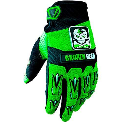 Broken Head MX-Handschuhe Faustschlag I Motorrad-Handschuhe Für Motocross, Enduro, Mountainbike I Grün - Größe L