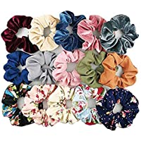 EPARTY-Printed Hair Scrunchies Hair Ponytail Holder in Satin Solid And Valvet Fabric For Girl And Women Multicolor Set…
