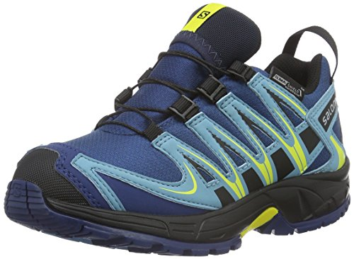 Salomon L37911000, Zapatillas de Trail Running para Niños, Azul (Midnight Blue/Blue Gum/Corona Yello), 34 EU