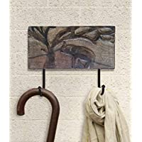 Rustic Wooden Wall Hooks Multi-utility Coat Key Hat Scarf Bags Towel Hanger Sturdy 2 Metal Hooks with Hand Carved