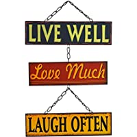 Placa metálica vintage para colgar - Live Well, Love Much, Laugh Often