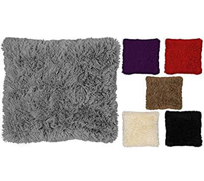 "Long Pile Super Soft and Cuddly Shaggy 17x17"" (43x43cm) Cushion Cover - inexpensive UK light store."