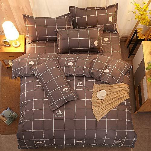 UOUL Bettwäschesatz Baumwolle 4-teilig Atmungsaktiv Komfort Plaid Geeignet Für Jugendliche Kinder Schlafzimmer Blau Twin,Black,California King -