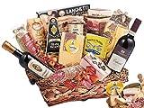 """Geschenkkorb Wein käse """"Weihnachtsgeschenkkorb Essen und Wein - Insgesamt 14 Teile"""" mit Italien Feinkost - Geschenkkörb Italienish für Weihnachten - Geschenkkorb Italienische - (Code N47)"""