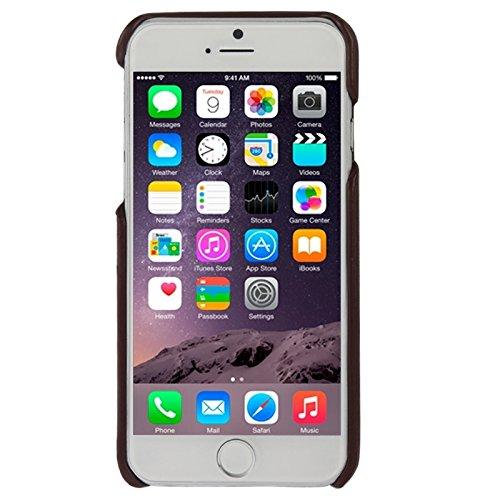 Phone case & Hülle Für iPhone 6 / 6s, Litchi Texture echtes Leder zurück Abdeckung Fall mit Kartenschlitzen und Mode Logo ( Color : Coffee ) Coffee