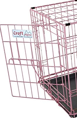 Croft Alpine Economy folding dog crate - PINK - 24ins - lightweight by Croft