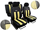 POK-TER-TUNING Hochwertige Autositzbezüge Kunstleder mit ALKANTRA - Design GT. in Diesem Angebot Beige.