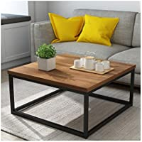 Cherry Tree Furniture CLIVE Mid-Century Style Walnut Colour Coffee Table Side Table with Black Metal Frame