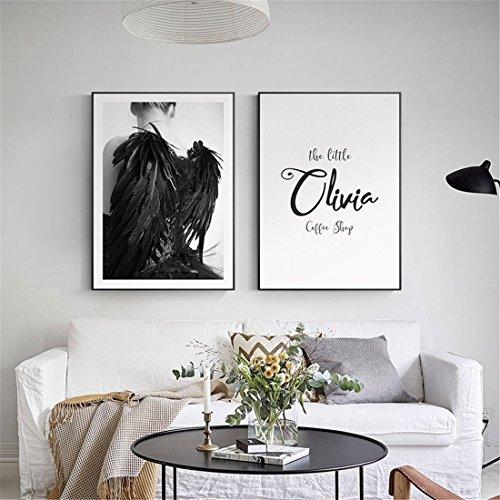 Einfache nordischen Stil Schlafzimmer Bett Gemälde Postmodern Zeichen Wohnzimmer Dekoration Persönlichkeit schwarz-weiß Buchstaben Wandmalereien (Weiß-bett-satz Und Schwarz)