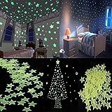 Demiawaking 100 stücke Hause Wandleuchte Grün Glow In The Dark Stern Aufkleber Baby Room