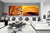 Löwe Savanne Sonnenuntergang Panorama Wandtattoo Bild Poster Aufkleber W0021 Größe 200 cm x 66 cm