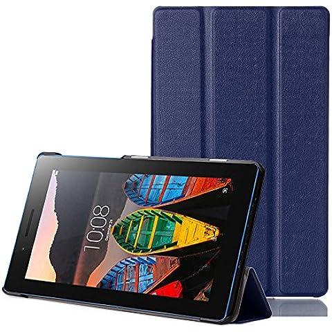 tinxi® PU piel funda para lenovo Tab3 7 Essential Tab 3-710F 7 pulgadas (17,78 cm) protectora Cover Tablet Notebook Case con funcion de soporte con el azul oscuro