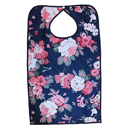 Wasserdicht Erwachsene Lätzchen Kleidungschutz Bib Tuch Schürze Hibiskus, mit Druckknopfverschluss, für Behinderung Hilfe, Altenpflege Blumen 01